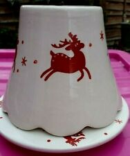 YANKEE CANDLE Rare Reindeer Christmas Shade and Tray Candle Holder Lamp