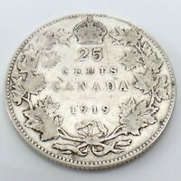 1919 Canada 25 Twenty Five Cents Quarter Silver King George V Canadian Coin G739