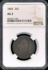 1805 Draped Bust Quarter NGC AG 3 *Nice For The Grade*