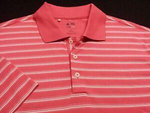 Adidas Climalite Mens XL Short Sleeve Pink Striped Athletic Polo Golf Shirt