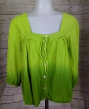 New Direction Womens Shirt Blouse Size Large Green Umbro Square Neck Fun B3/517