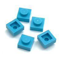 Lego 5 New Medium Azure Plate 1 x 1 Dot Stud Pieces