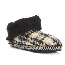 Mukluks Womens Size XL 11-12 Melinda Furpa Cuff Booties Slippers Black Plaid NWT