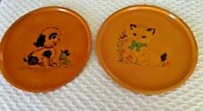 Vtg Hand Painted Serving Trays Wall Decor Dog Cat Birds