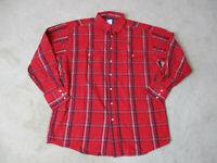 VINTAGE Wrangler Pearl Snap Shirt Adult Extra Large Red Western Cowboy Mens