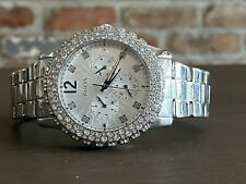 GUESS Glitz Crystal Accented Bezel Multi Function Stainless Steel Watch U0335LI