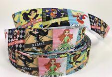 """By The Yard 1"""" Various Girl Super Heroes Ribbon Hair Bows  Lisa"""