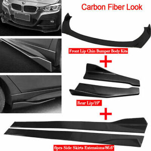 "Carbon Fiber Car Front Rear Bumper Lip Splitter + 86"" Side Skirt Extension - US"