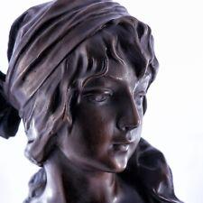 Art Nouveau Bronze Girl Bust / Sculpture on a solid marble base. Art, Gift.