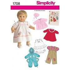 SIMPLICITY SEWING PATTERN 15 INCH (38 CM) DOLL CLOTHES COAT JUMPSUIT DRESS 1708