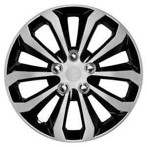 "16"" Set of 4 Silver Black Wheel Covers Snap On Hub Caps fit R16 Tire & Steel Rim"
