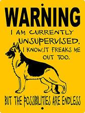 """GERMAN SHEPHERD DOG SIGN, 9""""x12"""" ALUMINUM,Guard Dog Sign,Security,Gate,WUS1"""