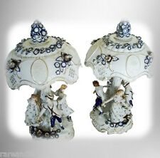Pair of large German porcelain hand painted lamps lithophane shades - FREE SHIP