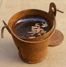 1:12 Scale Large Rusty Metal Bucket Of Water Tumdee Dolls House Accessory