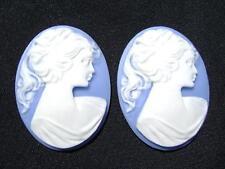 TAXI Acrílico Blanco en Azul Mujer 40x30mm ovalado camafeo 6qty