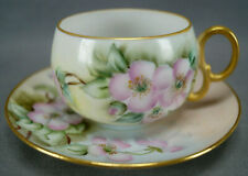 M & Z Hand Painted Signed NCF / NC Fischer Pink Roses & Gold Tea Cup & Saucer B
