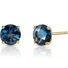 14k Yellow Gold London Blue Topaz Round Stud Earrings