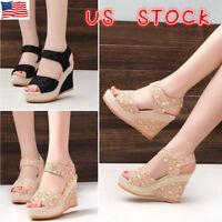 Womens Summer Wedge High Heel Platform Espadrille Sandals Ladies Peep Toe Shoes