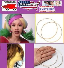 Cardi B. Gold~HUGE~4-inch~HOOP~EARRINGS 100mm~HOOPS BIG~LARGE~JUMBO nicki minaj