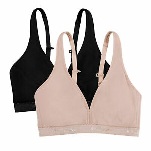 Fruit of the Loom Women's 2-Pack Wirefree Bras - FT799PK- Black & Sand - 36DDD