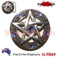 Pentagram Belt Buckle Pewter Wicca Pagan Gothic Pentacle 7.5cm