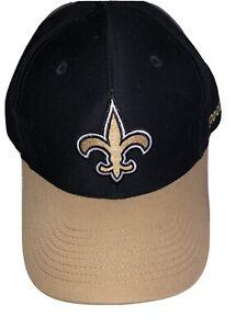 New Orleans Saints NFL Reebok Adjustable Strap Hat Cap Black Gold
