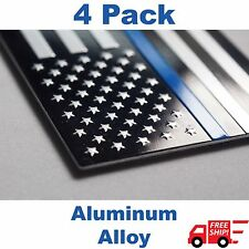 (4 PACK) Aluminum Police Officer Thin Blue Line American Flag Decal Sticker