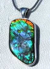 AMMOLITE PENDANT, Blue/Green/Purple, Sterling Silver- HANDMADE, Feng Shui Prized