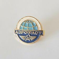 Vintage AEROFLOT Russia USSR Soviet Pin Badge BLUE GLOBE Aviation Aircraft