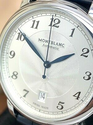 Montblanc Mens Watch 117574 Star Legacy Swiss Automatic Silver Dial Blue Leather