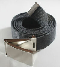 "NEW FLIPTOP ADJUSTABLE 42"" INCH GRAY MILITARY GREY WEB CANVAS CHROME BELT BUCKLE"