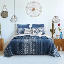 King Quilt Set Indigo Blue Tribal Bands Bohemian Chic Bedding