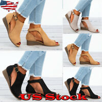 US Women's Suede Wedge Heel Summer Beach Sandals Peep Toe Boots Shoes Size 5-10