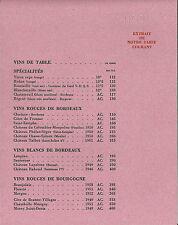 Tarif catalogue NICOLAS 1953 EONOLOGIE vignoble wine Draegger Vin