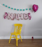 "Custom Name Flamingo Rose Gold Silver Balloons  Letters Party Name 16"" Foil"
