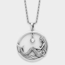 CUT OUT MERMAID PENDANT NECKLACE SEA LIFE METAL SILVER