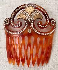 Antique Celluloid Hair Comb Alexandre de Paris French Crystal Art Deco Amber