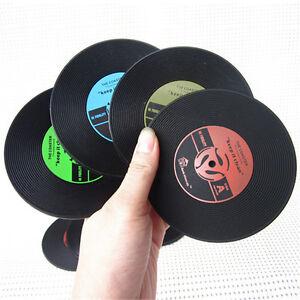 Vinyl CD Album Record Drinks Coasters Bar Table Cup Glass Skid Mat Holder D fc