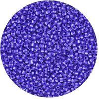 Czech Glass Seed Beads Size 11/0 Stripe Stripe Blue White