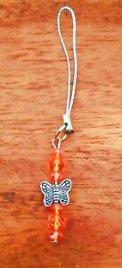 Glass Crystal + Butterfly Bead Charm + Phone Strap - Kids Girls Xmas Gift