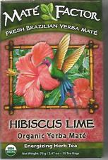 Organic Yerba Mate Energizing Herb Tea, Hibiscus Lime, 20 tea bags  70g