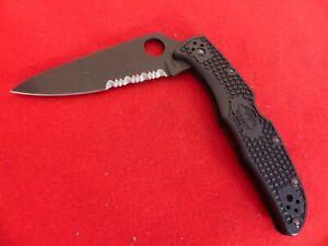 """Spyderco C10PSBBK Endura 4 - 3.75"""" Black Finish Combo Edge VG-10 Blade Black FRN"""
