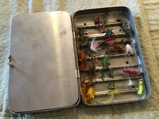 New listing Vtg Aluminum Fly Tackle Box Full W/ 18 Flies frogs,hopper,etc