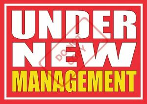 UNDER NEW MANAGEMENT POSTER - SHOP WINDOW SIGN BANNER - FREE UK P&P a
