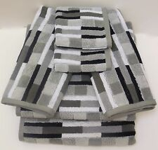 Geometric Striped Bath Towel Set Black White Gray Blocks 6 Pc Set Bella Lux New