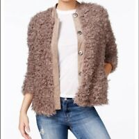 GUESS Camryn Faux Fur Snap-Up Weathered Grey Jacket $138 Size Medium NWT