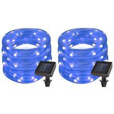 2 Pack 39ft 100 LED Solar Power Rope Lights, Waterproof, String Lights - Blue