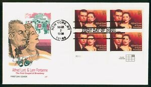 MayfairStamps Cover 1999 New York Alfred Lunt & Lynn Fontanne Broadway Block Far
