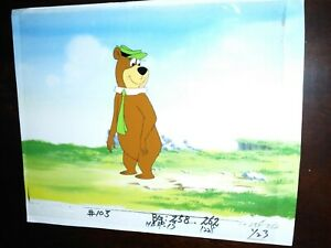 Yogi Bear animation Production hand inked cel original background with COA