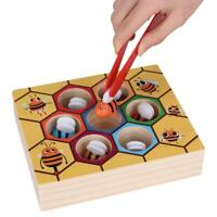 Children Infant Wooden Bee Clip Out Educational Toy Kids Beehive Game Gift Hot